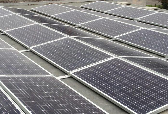Panele solarne w mieście Łodzi